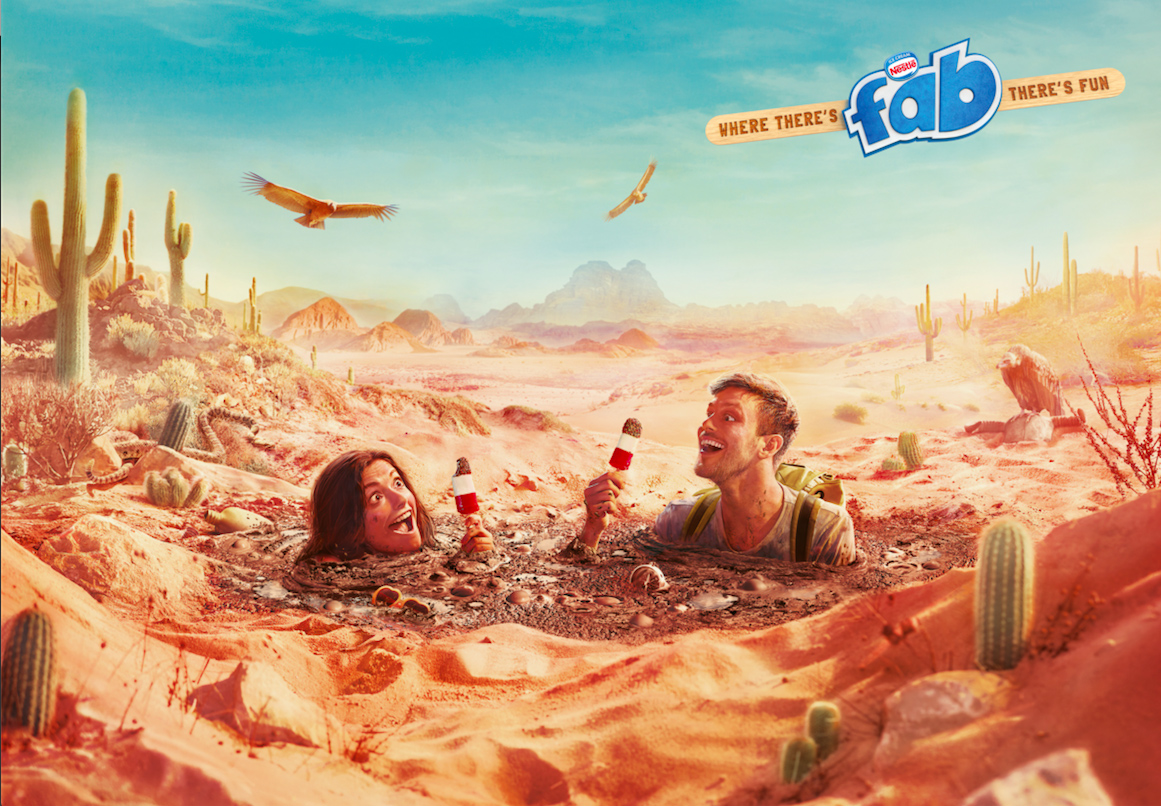Man and woman in quicksand eating Fabs